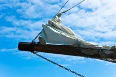 Jib Of A Sailing Ship Royalty Free Stock Image