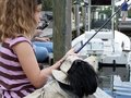 Free Little Girl Fishing With Dog Royalty Free Stock Photo - 4443845