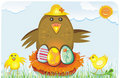 Free Cheerful Chicken Family. Royalty Free Stock Photography - 4445597