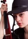 Free Fedora Girl With Guitar Royalty Free Stock Photos - 4446648