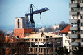 Free Workers On A Roof - Lifting Crane Royalty Free Stock Photos - 4449188