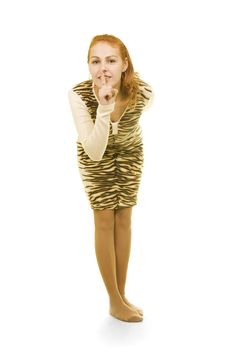Free Girl Asks To Be Silent Isolated Royalty Free Stock Photography - 4440157