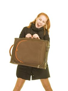 Free Smiling Woman With A Suitcase Stock Image - 4440351
