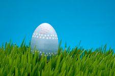 Pastel Easter Egg In Lush Grass Stock Photo