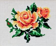 Free Stitched Rose-01 Royalty Free Stock Image - 4440886