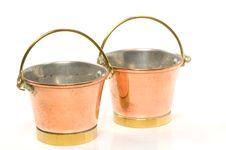 Copper Buckets Royalty Free Stock Photos