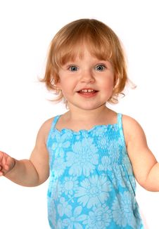 Free Smiling Baby In Blue Dress Stock Photography - 4443732