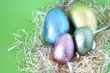 Free Easter Eggs Lying In Straw Stock Photography - 4444402