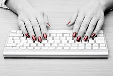 Free Fingers With Red Nail Stock Image - 4446381