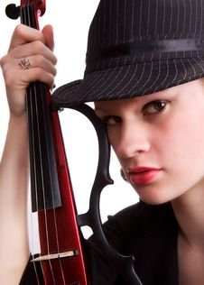 Free Fedora Girl With Guitar Royalty Free Stock Photos - 4446648