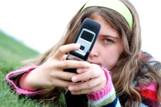 Free Young Girl And Cellphone Royalty Free Stock Photos - 4446978