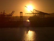Sun Setting On Industry Stock Photo