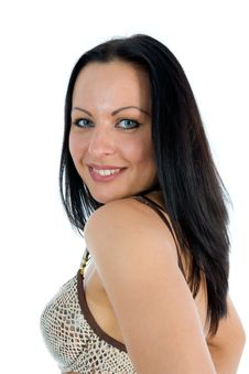 Free Portrait Of The Brunette With Blue Eye Royalty Free Stock Photo - 4448435