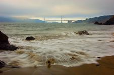 Free Golden Gate Bridge In A Fog At Sunset Royalty Free Stock Photo - 4448995