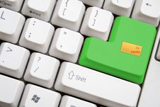 Keyboard With Green SENT MAIL Button Stock Photo