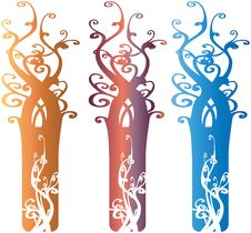 Interesting Ornate Tree Design Elements Illustrati Stock Photos