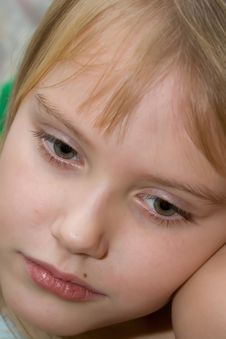 Free Color Portrait Of Young Sadness Girl Royalty Free Stock Image - 4450706