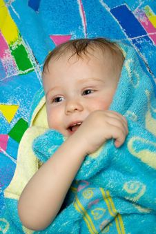 Free Baby After Bath Under Towel Stock Photo - 4451200