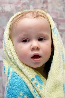 Free Baby After Bath Under Towel Stock Photos - 4451203