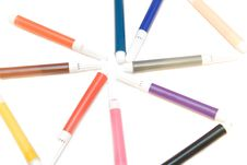 Free Some Soft-tip Pen On White Isolated Background Stock Photo - 4451250
