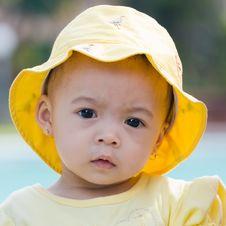 Free Beautiful Child Wearing Yellow Hat Royalty Free Stock Photo - 4451455
