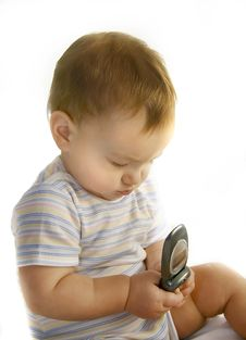 Free Baby Boy With Cell Phone Stock Images - 4452004
