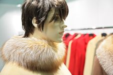 Mannequin Woman With Fur Stock Photo