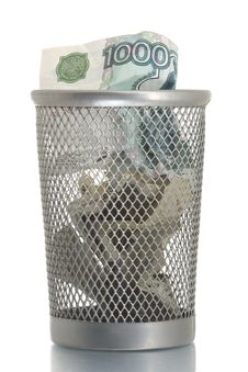 Mesh Trash Bin With Thousand Roubles Royalty Free Stock Image