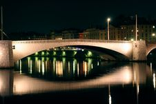 Free Bridge On The Saone At Night Royalty Free Stock Image - 4454606