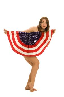 Free Attractive Female American Patriot With Flag Stock Photo - 4455500