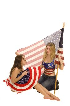 Free Attractive Female American Patriot With Flag Royalty Free Stock Photography - 4455507