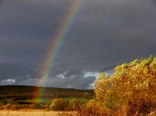 Rainbow On The Field Royalty Free Stock Photography
