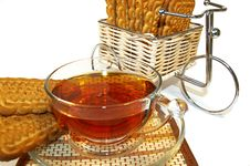 Free Bicycle,  Cookies And A Cup Of Tea Royalty Free Stock Images - 4458799