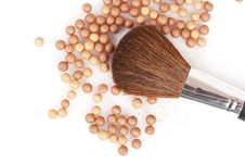 Bronzing Pearls And Thick Brush Royalty Free Stock Photo