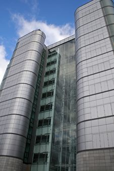 Tall Silver Office Building Stock Image