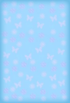 Free Blue Background With Pink Flowers, Butterflies And Royalty Free Stock Photos - 4460298