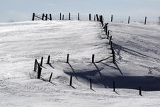 Fence In The Snow Stock Images