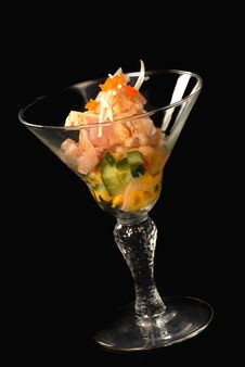 Asian Seafood Cocktail With Tuna And Cucumber Royalty Free Stock Image