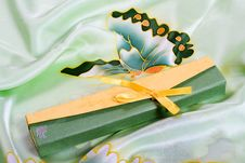 Gift Box On Silk Stock Photography