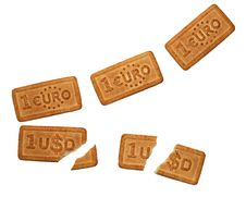 Dollar And Euro Formed Biscuits Stock Photos
