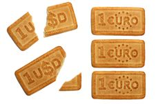 Free Biscuits In Form Of Dollar And Euro Bills Royalty Free Stock Photography - 4463097