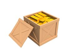 Free The Open Parcel, Filled With Gold Ingots Stock Photos - 4464783