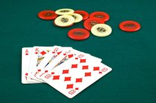 Royal Flush And Chips Royalty Free Stock Photo