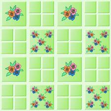 Flower Tiles Wall Stock Photos