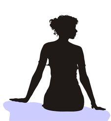 Vector Silhouette Of Young Girl Stock Photos