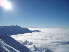 French Alps Above The Clouds Stock Image