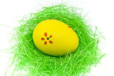 Free One Yellow Easter Egg With Green Grass Stock Image - 4468451