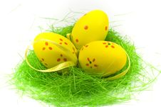 Free Three Yellow Easter Eggs With Green Grass Royalty Free Stock Image - 4468456