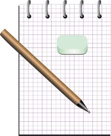 Free Notebook With Pencil Stock Photography - 4468772