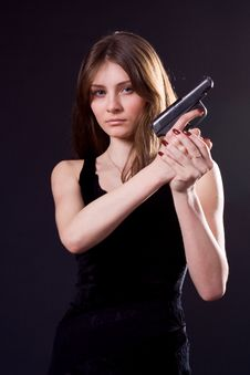 Free Lady And Gun Royalty Free Stock Photos - 4468778